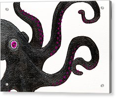 Black And Purple Octopus Acrylic Print by Stefanie Forck