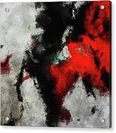 Black And Red Abstract Minimalist Painting Acrylic Print