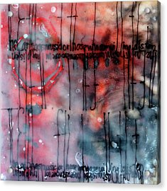 Acrylic Print featuring the painting Black And Red Encaustic 4 by Nancy Merkle