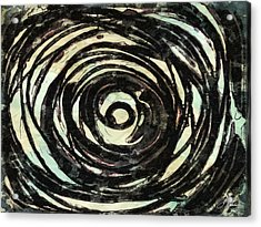Acrylic Print featuring the painting Black And White Abstract Curves by Joan Reese