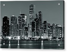 Acrylic Print featuring the photograph Black And White And Grey Chicago Night by Frozen in Time Fine Art Photography