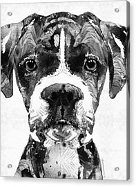 Black And White Boxer Dog Art By Sharon Cummings  Acrylic Print by Sharon Cummings