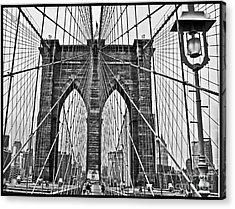 Black And White Brooklyn Bridge Acrylic Print by Allan Einhorn