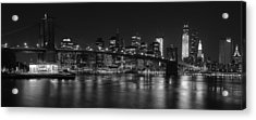 Black And White Brooklyn Bridge Acrylic Print by Shane Psaltis