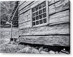 Black And White Cabin In The Forest Acrylic Print