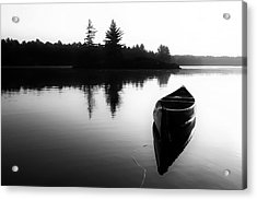 Black And White Canoe In Still Water Acrylic Print