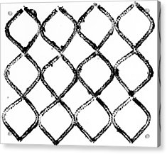 Black And White Chain Link Fence Acrylic Print by Gillham Studios