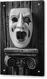 Black And White Crying Mask Acrylic Print by Garry Gay