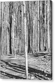 Black And White Disc Golf Basket Acrylic Print by Phil Perkins