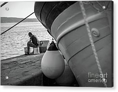 Black And White - Fisherman Cleaning Fish On Docks Of Kastel Gomilica, Split Croatia Acrylic Print