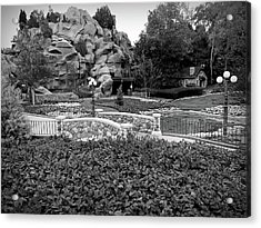 Acrylic Print featuring the photograph Black And White Flower Garden Walkway by Aimee L Maher Photography and Art Visit ALMGallerydotcom