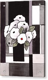 Black And White Funny Flowers Acrylic Print by Carrie Allbritton
