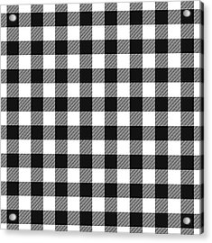 Black And White Gingham Small- Art By Linda Woods Acrylic Print