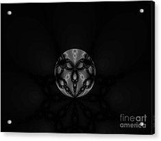 Black And White Globe Fractal Acrylic Print