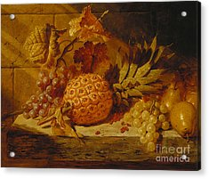 Black And White Grapes, Pears, Redcurrants And A Pineapple On A Ledge, 1845  Acrylic Print