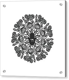 Black And White Hamsa Mandala- Art By Linda Woods Acrylic Print by Linda Woods