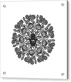 Acrylic Print featuring the mixed media Black And White Hamsa Mandala- Art By Linda Woods by Linda Woods