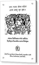 Black And White Hanuman Chalisa Page 58 Acrylic Print