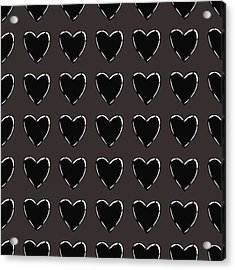 Black And White Hearts 1- Art By Linda Woods Acrylic Print by Linda Woods