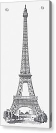 Black And White Illustration Of Eiffel Tower Acrylic Print
