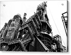 Black And White Industrial - Bethlehem Steel Acrylic Print by Bill Cannon