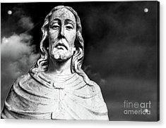 Black And White Jesus Sculpture Shoulders Up Woodlawn Memorial Park Cemetery Nashville Tn Acrylic Print by Photo Captures by Jeffery