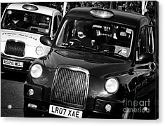 Black And White London Taxi Cabs Acrylic Print by Andy Smy