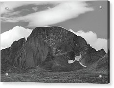 Acrylic Print featuring the photograph Black And White Longs Peak Detail by Dan Sproul
