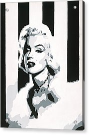 Black And White Marilyn Acrylic Print by Ashley Price