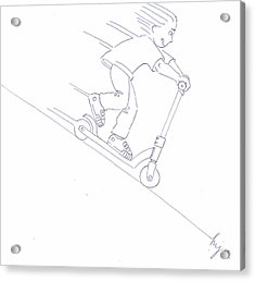 Black And White Micro Scooter Downhill Drawing Acrylic Print