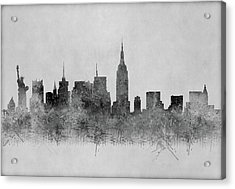 Acrylic Print featuring the digital art Black And White New York Skylines Splashes And Reflections by Georgeta Blanaru