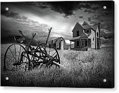 Black And White Of The Decline Of The Small Farm Acrylic Print by Randall Nyhof