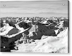 Black And White Of The Summit Of Mount Elbert Colorado In Winter Acrylic Print