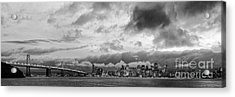 Black And White Panorama Of San Francisco Skyline And Oakland Bay Bridge From Treasure Island  Acrylic Print by Silvio Ligutti
