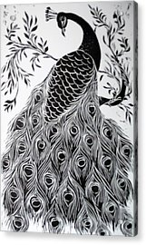 Black And White Peacock Acrylic Print