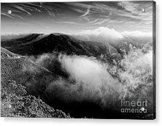 Black And White Photograph Of Fog Rising In The Marin Headlands - Sausalito Marin County California Acrylic Print by Silvio Ligutti