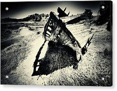 Black And White Photography Shipwreck Pinhole Acrylic Print by Dapixara Art