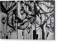 Black And White Poppies Triptych Acrylic Print