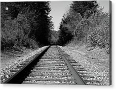 Black And White Railroad Acrylic Print by Michael Waters