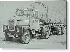 Acrylic Print featuring the drawing Black And White Scammell. by Mike Jeffries
