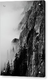 Black And White Silhouette Of The Mountains. Acrylic Print