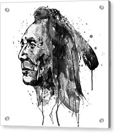 Acrylic Print featuring the mixed media Black And White Sioux Warrior Watercolor by Marian Voicu