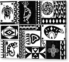 Black And White Southwest Sampler Acrylic Print by Susie WEBER