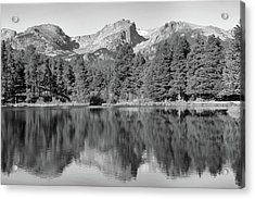 Acrylic Print featuring the photograph Black And White Sprague Lake Reflection by Dan Sproul