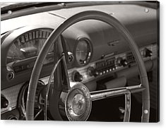 Black And White Thunderbird Steering Wheel  Acrylic Print
