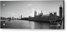 Black And White View Of Thames River And House Of Parlament From Acrylic Print
