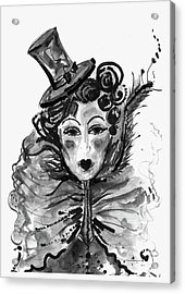 Acrylic Print featuring the mixed media Black And White Watercolor Fashion Illustration by Marian Voicu