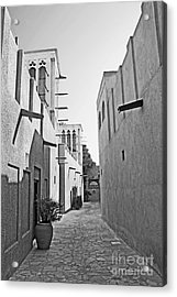 Black And Whitetraditional Middle Eastern Street In Dubai Acrylic Print by Chris Smith