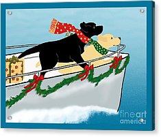 Black And Yellow Labs Boat To Christmas Acrylic Print