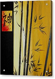 Acrylic Print featuring the painting Black Bamboo Zen  by Dina Dargo